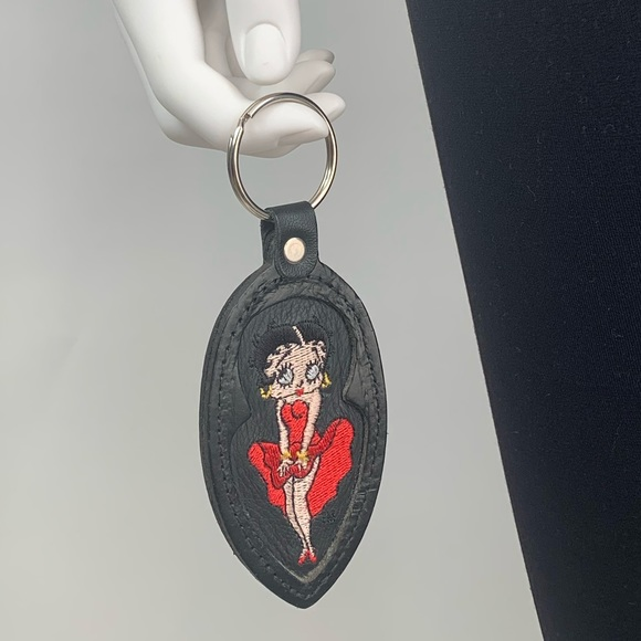 Vintage Betty Boop Leather Keychain Key Ring